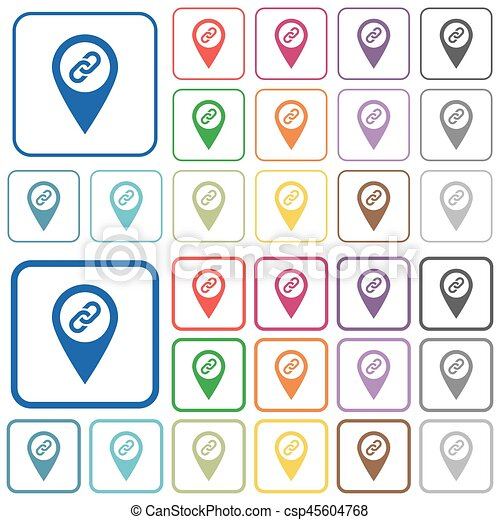 GPS map location attachment outlined flat color icons - csp45604768