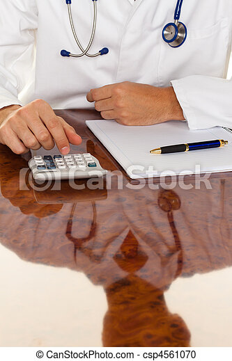 Doctor with a calculator. Costing medical practice - csp4561070