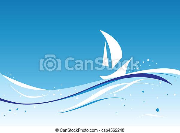 wavy vector with sailboat - csp4562248