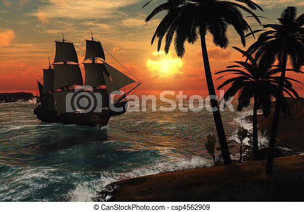Tall Ship in Tropical Sunset - csp4562909