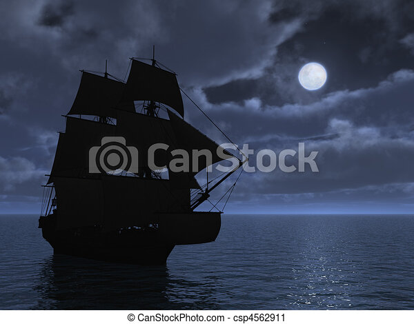 Tall Ship in Moonlight - csp4562911