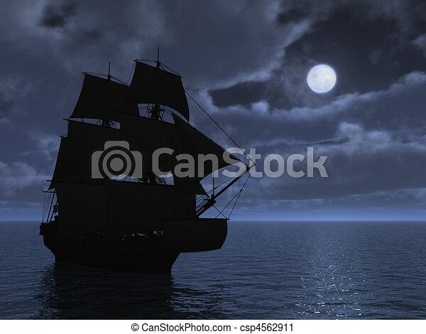 Tall Ship in Moonlight - csp4562911