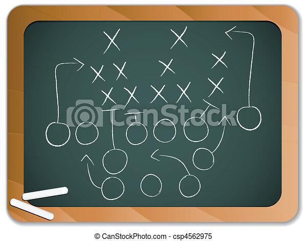 Teamwork Football Game Plan Strategy on Blackboard - csp4562975