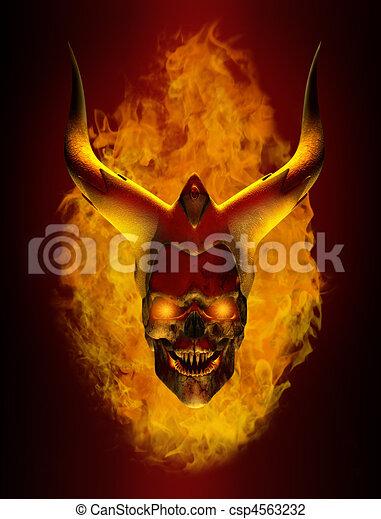 Horned Flaming Demon skull - csp4563232