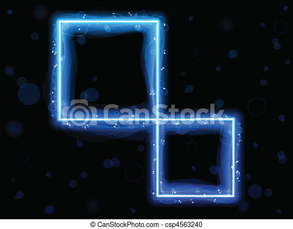 Blue Square Border with Sparkles and Swirls. - csp4563240