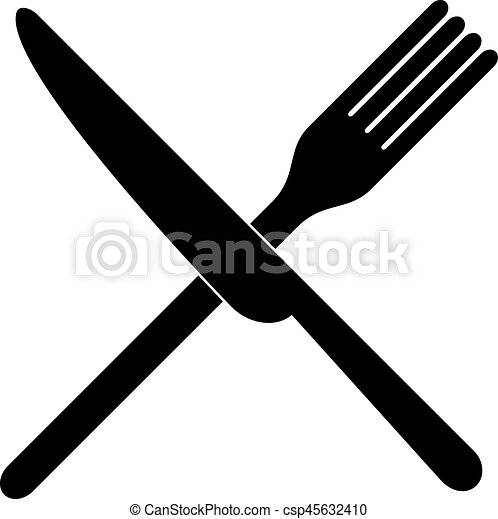 Messer clipart  Vektor Clipart von gabel, aus, gekreuzt, messer - gekreuzt, gabel ...
