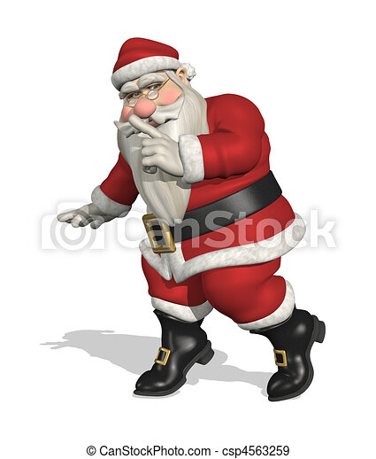 Stock Illustration of Secret Santa - Santa tiptoes quietly across a ...