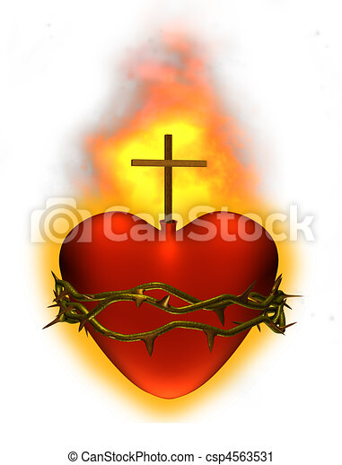 Clipart of Sacred Heart - The sacred heart of Jesus - 3D render ...