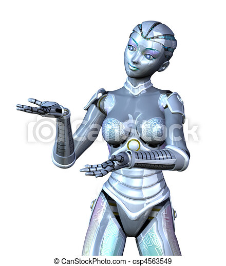 Female Robot Presenting Your Product - csp4563549