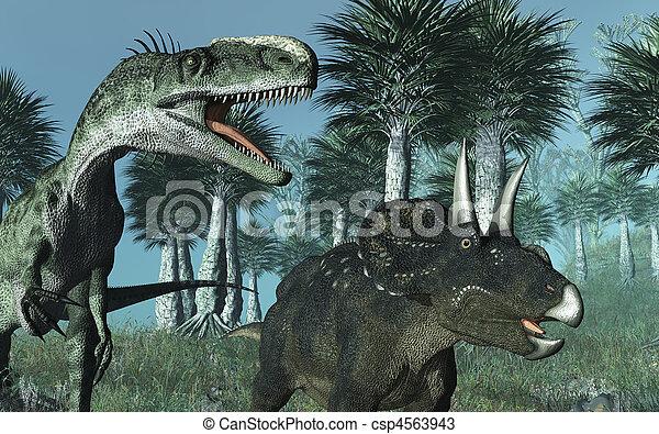 Prehistoric Scene with Dinosaurs - csp4563943