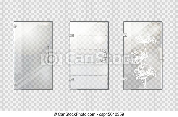Glass Doors Clipart clipart vector of glass door collection on transparent background