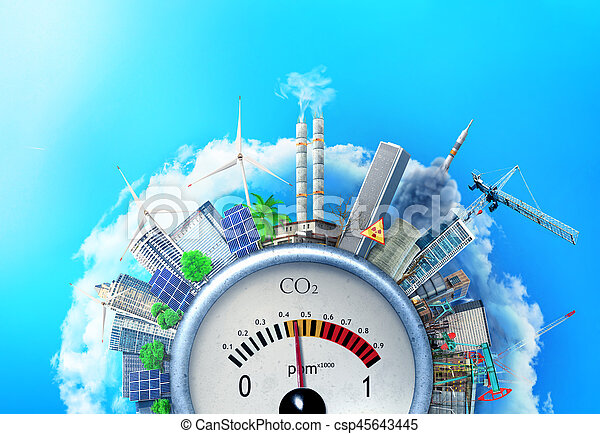The concept of environmental pollution. City around a carbon dioxide sensor against a blue sky. The concept of safe energy. - csp45643445