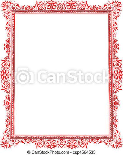 Antique red floral border - csp4564535