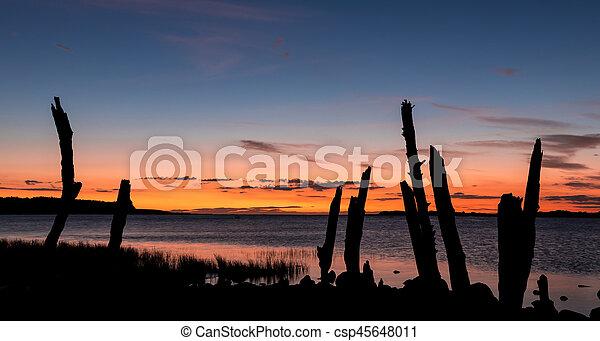 Foxton Beach River Sunset - csp45648011
