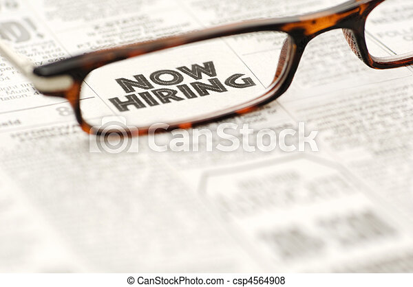 Now Hiring classified ad framed in glasses - csp4564908
