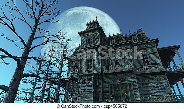 Haunted House - Full Moon - csp4565072