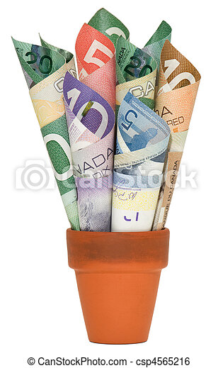 Canadian Cash rolled up in jar - csp4565216