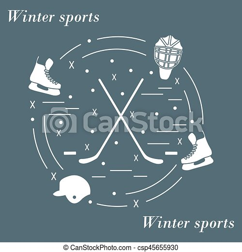 Vector illustration of various subjects for hockey arranged in a circle. - csp45655930