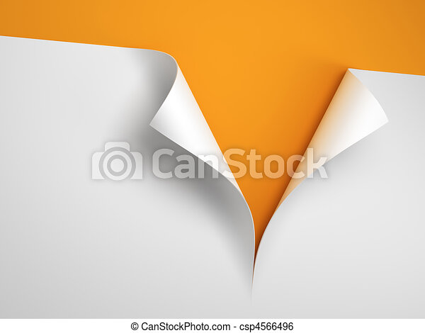 Sheet of paper with the curled corner - csp4566496