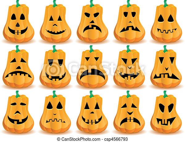 grande, Conjunto, 15, Halloween, calabazas, Bocas, ojos, Narices, gato ...