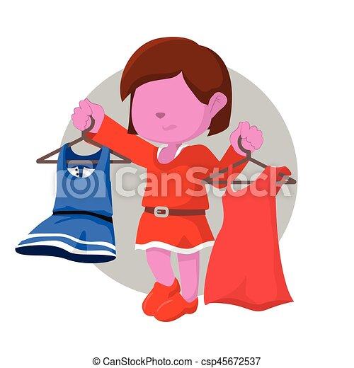 pink girl getting confused choosing dress - csp45672537