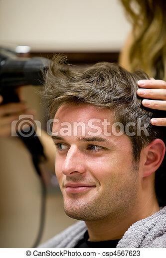 Female hairdresser drying - csp4567623