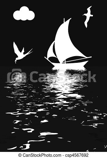 illustration sailboat in ocean - csp4567692