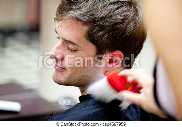 Cute caucasian customer in a hairdressing salon - csp4567959