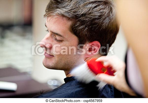 Cute caucasian customer in a hairdressing salon - csp4567959