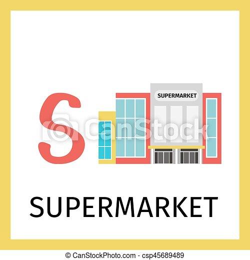Supermarkt gebäude clipart  Vektor von gebäude, alphabet, karte, supermarkt - Alphabet, karte ...