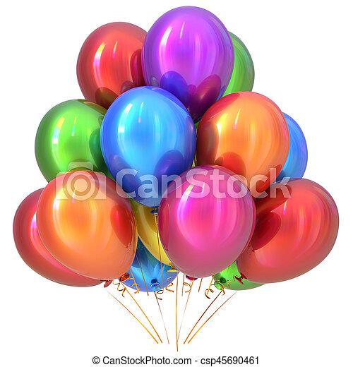 Balloons happy birthday party decoration colorful multicolored - csp45690461
