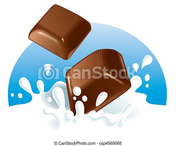 Chocolate pieces splashing in milk - csp4569568