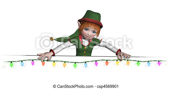 Santa's Elf is Hanging Christmas Lights - csp4569901