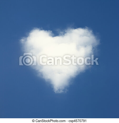 Heart shaped clouds on blue sky background. - csp4570791