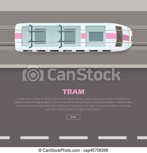 Tramway on Road Conceptual Flat Vector Web Banner - csp45708398