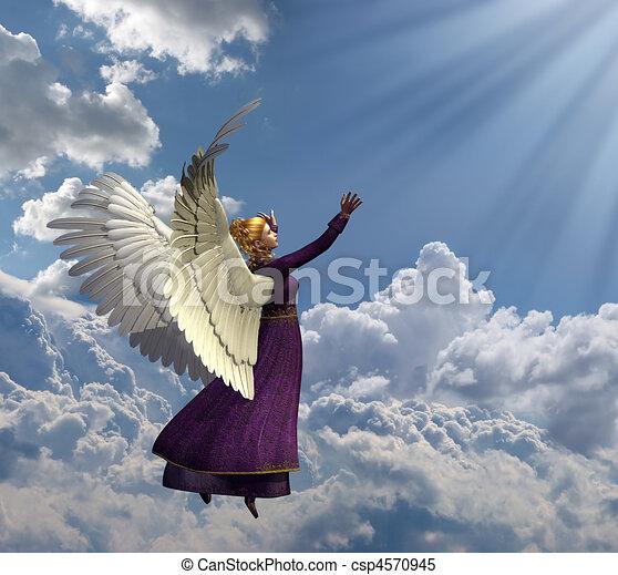 Angel Reaching for Heavenly Light - csp4570945