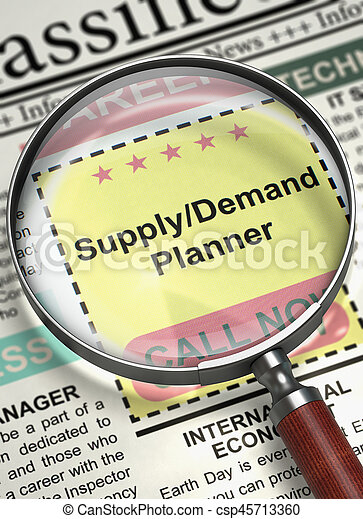 Column in the Newspaper with the Small Ads of Job Search of Supplydemand Planner. Supplydemand Planner. Newspaper with the Jobs Section Vacancy. Job Search Concept. Blurred Image. 3D Rendering.