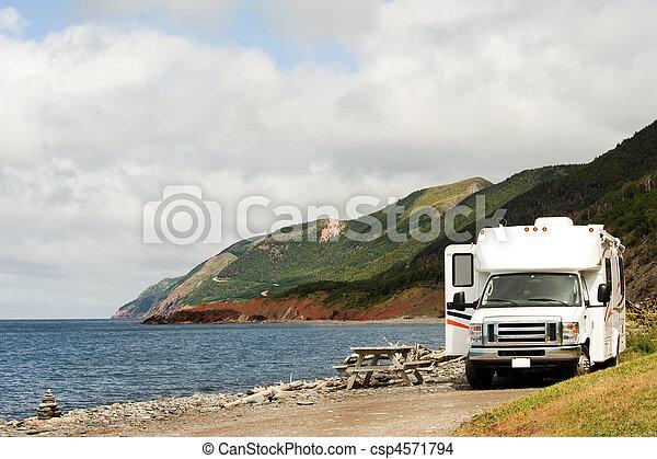 RV at picnic area, Cape Breton Highlands National Park, Nova Scotia