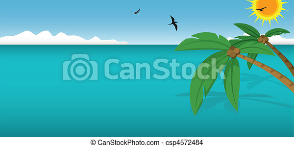 Coconut Trees and Ocean - csp4572484