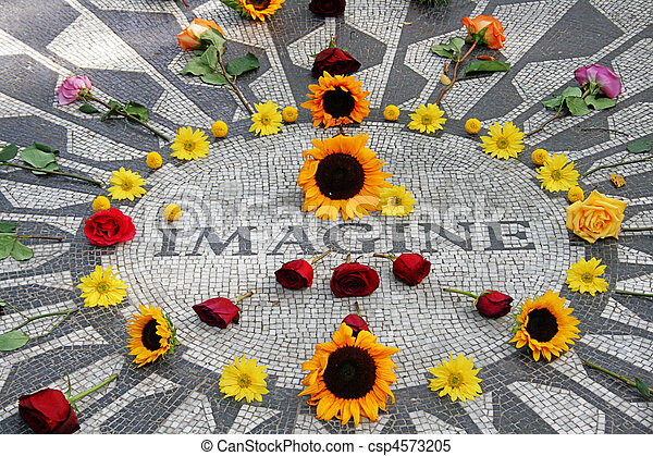 Imagine mosaic, full of flowers, in Central Park - csp4573205