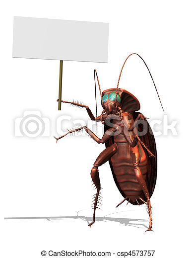 Giant Roach with a Blank Sign - csp4573757