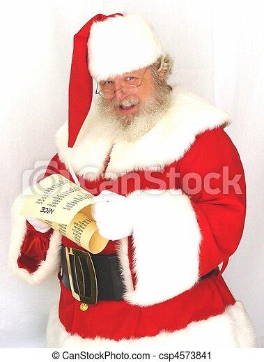 Stock Photography of Santa Claus Checking His List - Santa Claus ...