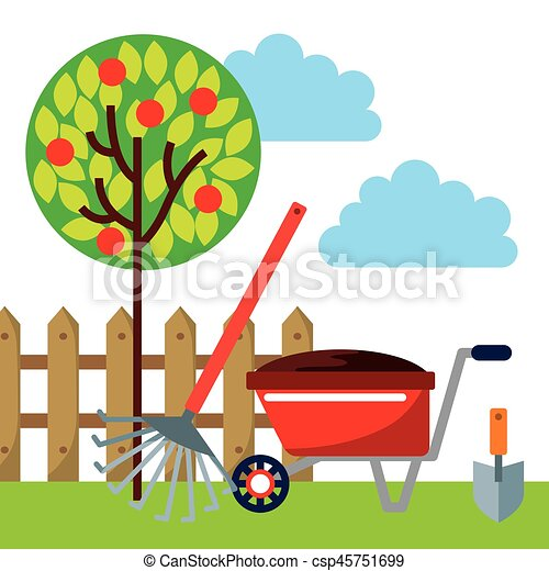 EPS Vectors of beautiful garden design gardening equipment over
