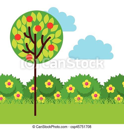 Garden Design Graphics vector clipart of beautiful garden design - garden with beautiful