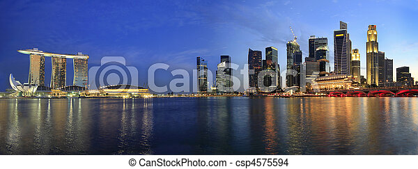 Singapore Cityscape from the Esplanade Panorama - csp4575594