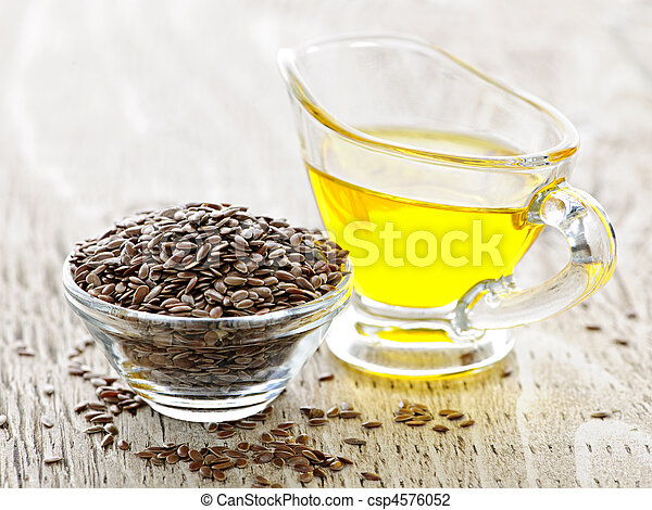 Brown flax seed and linseed oil - csp4576052