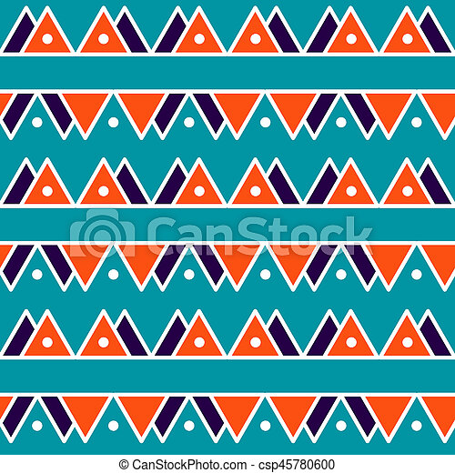 Seamless vintage abstract pattern with triangles in the style of 80's. Fashion background in Memphis style. - csp45780600