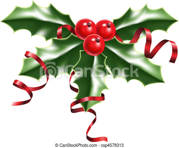 holly berries and ribbons - csp4578313