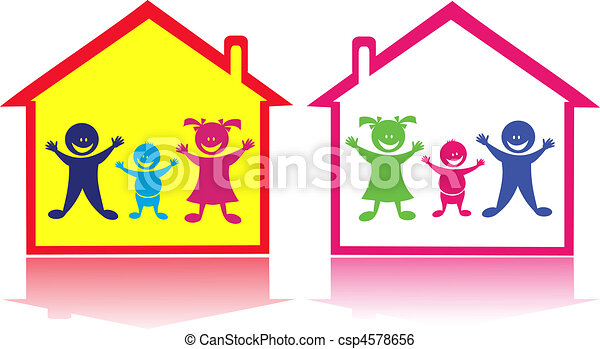 Happy kids in the home. - csp4578656