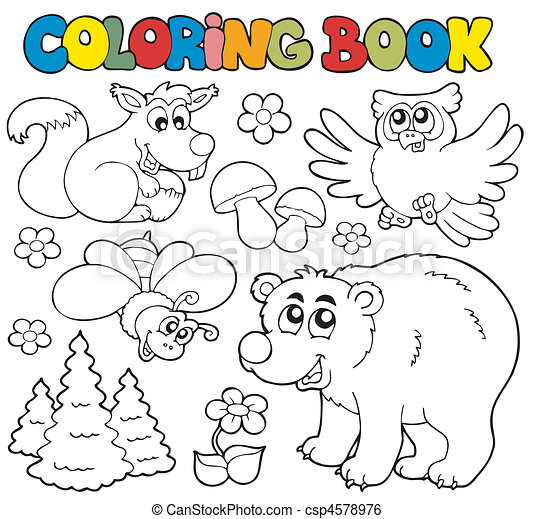 Coloring book with forest animals 1 - csp4578976